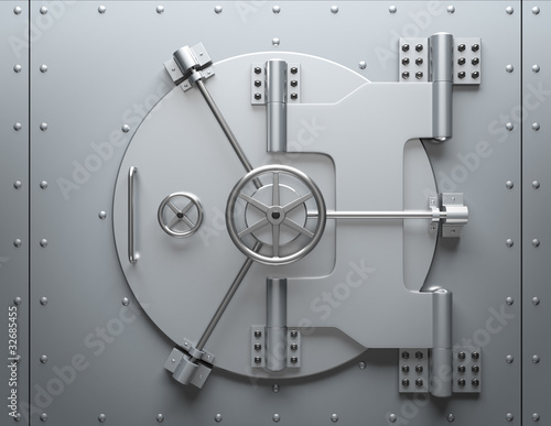 Leinwandbild Motiv Bank vault closed. Computer generated image