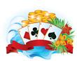 Tropical summer poker. vector illustration