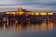 Sunset Prague Castle panorama,Vltava River View,Bohemia landmark