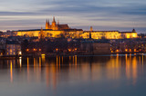 Sunset Prague Castle panorama,Vltava River View,Bohemia landmark poster