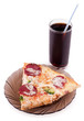 Slice of pizza and cola isolated on white
