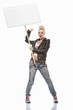 Punk girl with a white sign