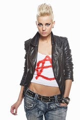 Punk girl with a cigarette isolated on white background