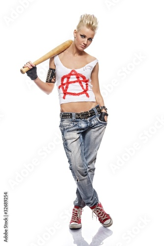 Punk girl with a bat