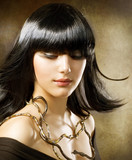 Beautiful Brunette. Egyptian Style. Hairstyle
