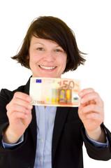 Junge Frau mit Geld