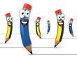 funny cartoon like pencils - back to school 3d concept