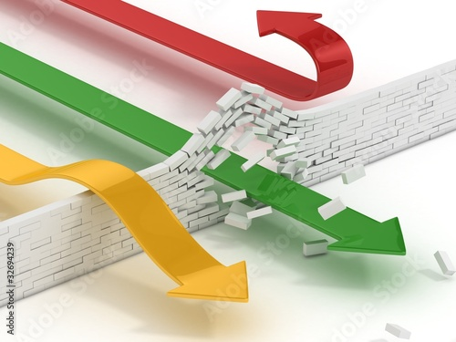 arrows breaking or passing brick wall, power solution, success