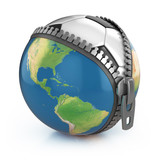 planet of football 3d concept - football under unzipped globe