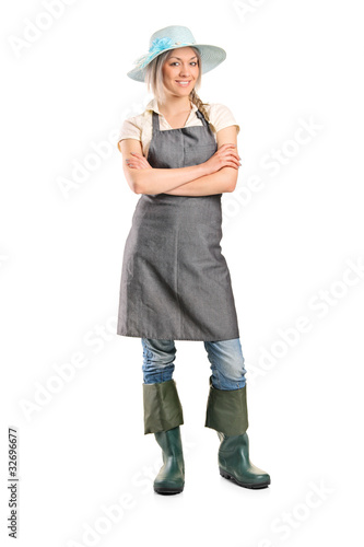 Female manual worker posing