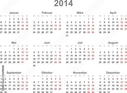 Kalender 2014, deutsch, Vektor