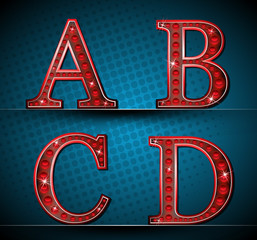 Set Red Letters With LED Lamp