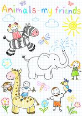 Vector sketches happy children's and animals