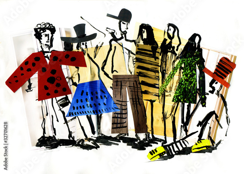 Fashionable abstract people