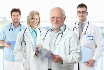 Professor with medical students