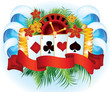 Tropical poker card, vector illustration