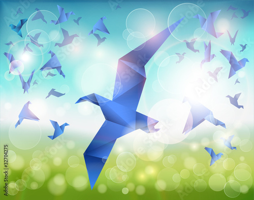 Foto op Canvas Geometrische dieren Paper Flight, Origami Blue Birds fly over beautiful landscape.