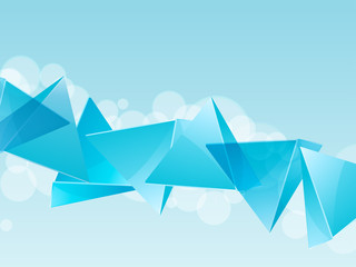 3d blue glass pyramid background