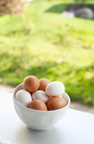 bowl with white and yellow eggs on window-sill poster