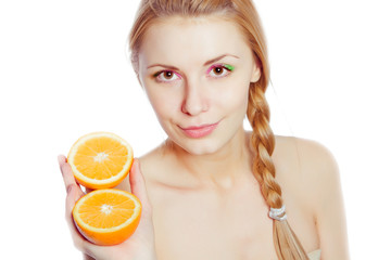 Young woman with oranges in her hands