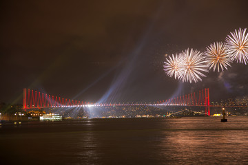 Independant day celebrations at Istanbul Bosphorus Bridge Turkey