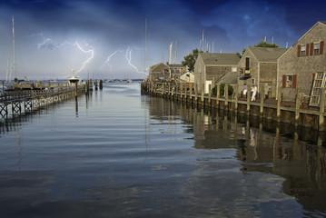 Storm approaching Nantucket Port