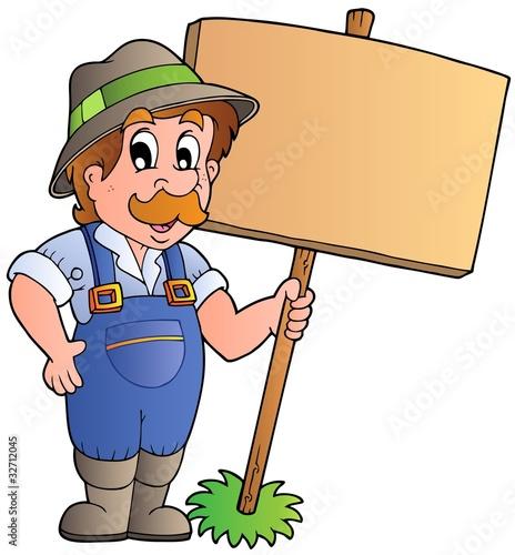 Cartoon farmer holding wooden board
