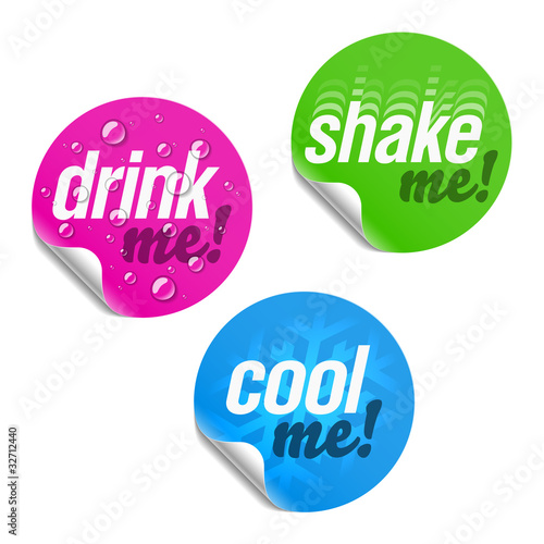 Drink me, shake me and cool me stickers
