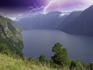 Panoramic view of Geiranger Fjord during a Storm