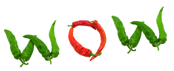 WOW text composed of chili peppers