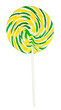 Colorful round lollipop isolated on white with clipping path
