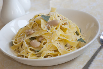Fettuccine with cannellini beans