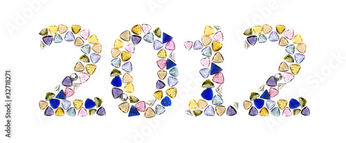 Gemstones numbers 2012, means Happy New Year. Isolated on white