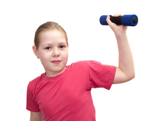 The girl from dumbbells isolated on white.