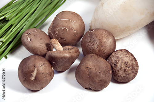 asian vegetables on white