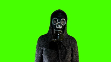 Chroma key dancing person in gas mask