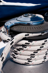 winch with rope on a sailing boat