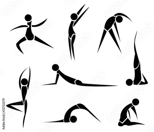 Stylized Yoga people - vector illustration