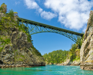 The Deception Pass Bridge bridge in the U.S. state of Washington