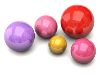 Colorful balls on white background