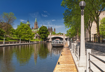 The Rideau Canal and Parliament Hill in Ottawa, Canada.