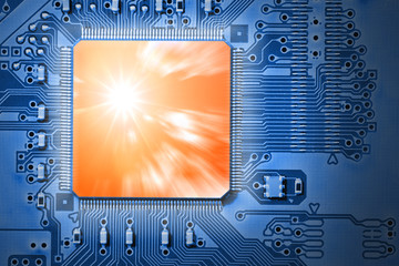 Powerful, Fast Orange CPU / Processor on Blue Circuit Board
