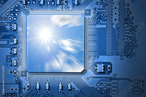 Powerful, Fast CPU / Computer Processor on Blue Circuit Board