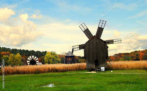 Wind mills in an autumn scenery