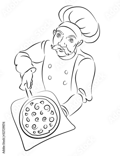 pizza美食手绘画简单