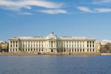 Historical building on quay of Neva river, Saint-Petersburg, Rus poster