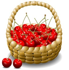 Ciliegie in Cestino Sfondo-Cherry Basket Background-Vector