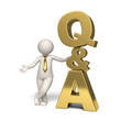 Q&A Icon gold - Questions and answers - 3d man