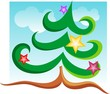 Illustration  of Christmas tree sticker