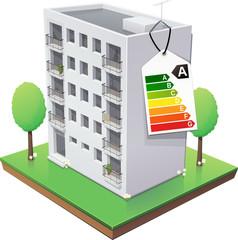 Immeuble et son étiquette énergie de classe A (détouré)